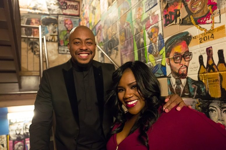 The Love King, Raheem DeVaughn, and Kelly Price Share A Smile at The 2016 Raheem DeVaughn and Friends Show at The Historic Howard Theater. Photo Credit: Tony Mobley for The LoveLife Foundation
