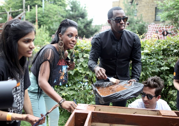 Diddy, Dawn Richard and Company Volunteer at Community Park