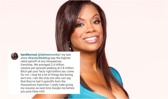 """Google Me"": Kandi Burruss Checks Follower Who Called Her New Spin-off ""Boring"""