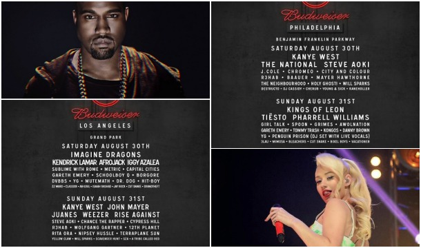 """Kanye West And Iggy Azalea Added to """"Budweiser Made In America"""" Festival Roster, Plus Daily Schedule"""