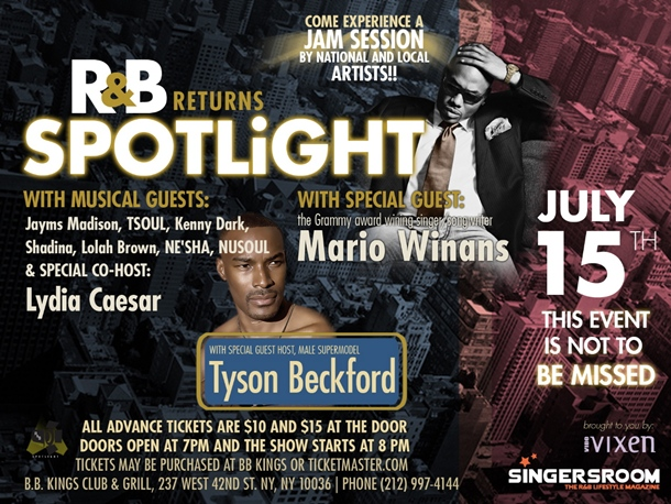 Mario Winans Tapped For Next Edition of R&B Spotlight Slated For July 15 (B.B. King NY)