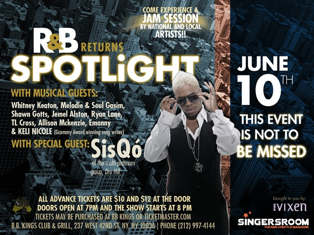Sisqo Tapped For Next Edition of R&B Spotlight Slated For June 10 (B.B. King NY)