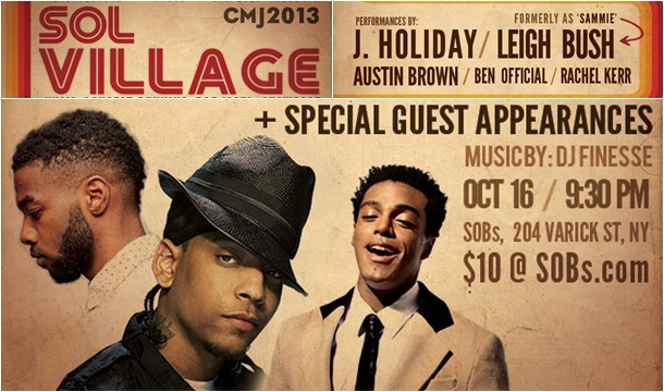 J. Holiday and Leigh Bush to Headline @SOBs' Sol Village on Oct 16