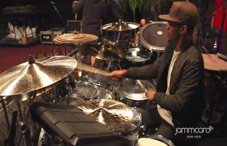 Kid Cudi's Drummer Mike Moore Gives Tour Of Stage Set For Jammcard's 'Gear Goggles' Series