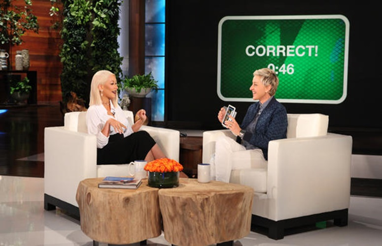 Christina Aguilera Plays 'Heads Up' With Ellen, Sings Beyonce, Adele, More (Video)