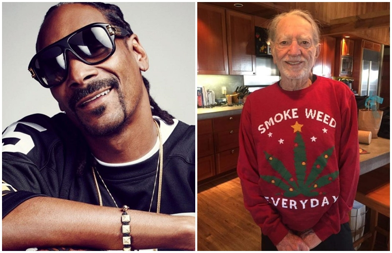 Snoop Dogg Gifts Willie Nelson Hemp-Inspired Holiday Sweater