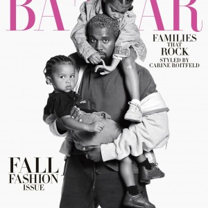 Kanye West Pose For 'Harper's Baazar' With his Kids